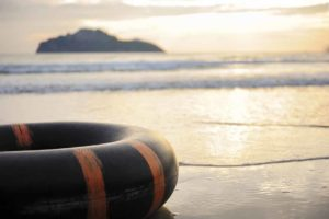 picture of inner tube on beach