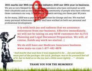 an image of a girl with a heart shaped red balloon with image over it detailing the information regarding retirement from the business